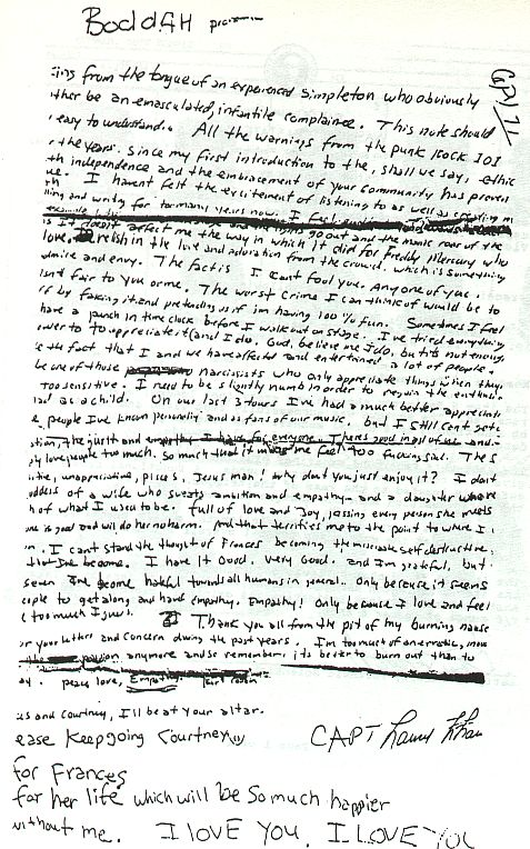 Kurt Cobain's Alleged Suicide Note