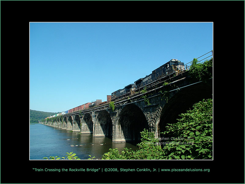 Train Crossing the Rockville Bridge, by Stephen Conklin, Jr. - www.pisceandelusions.org
