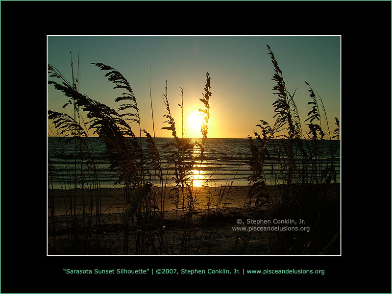 Sarasota Sunset Silhouette, by Stephen Conklin, Jr. - www.pisceandelusions.org