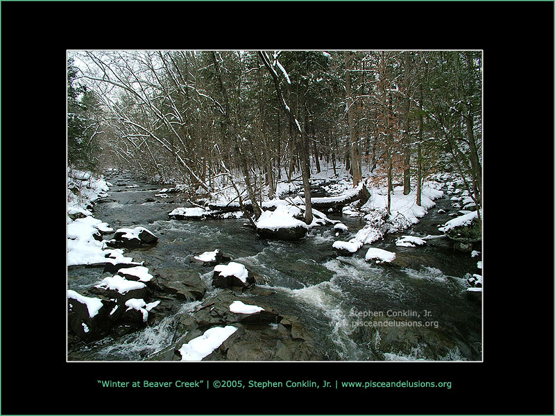 Winter at Beaver Creek, by Stephen Conklin, Jr. - www.pisceandelusions.org - Lewisberry, PA